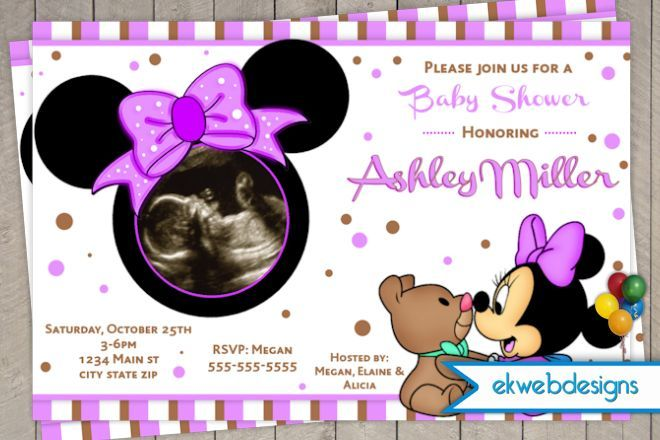 Baby Minnie Mouse Shower Invitations