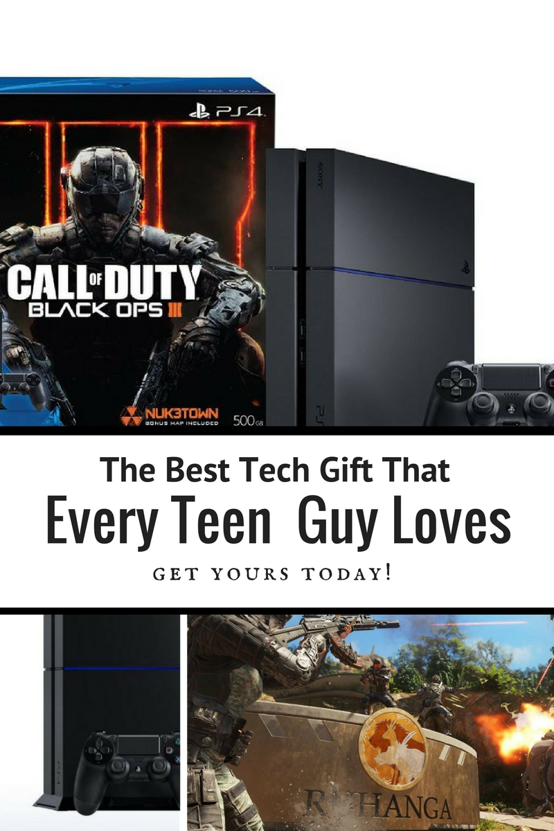 Give your teen boys the gift they all want... Playstation 4 with Call of Duty Black Ops. Any guy who loves his tech toys will LOVE this as a gift... I know mine would! (aff)