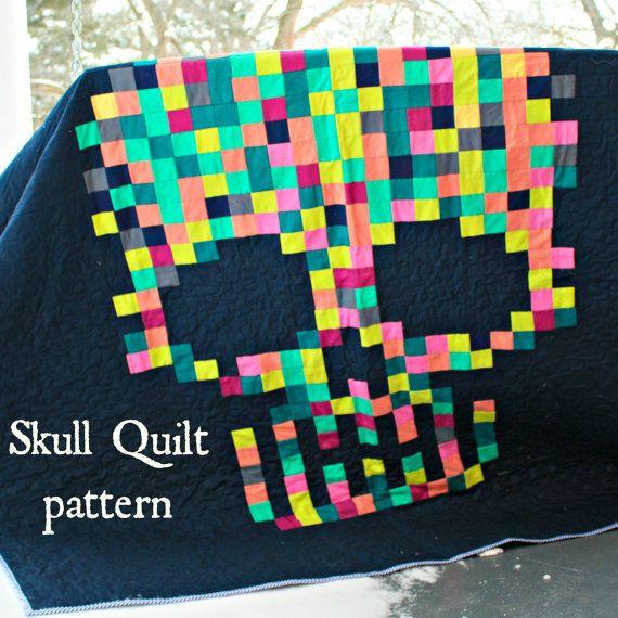 Sugar Skull Quilt PDF pattern download by HungryhippieSews on Etsy ... : sugar skull quilt pattern - Adamdwight.com