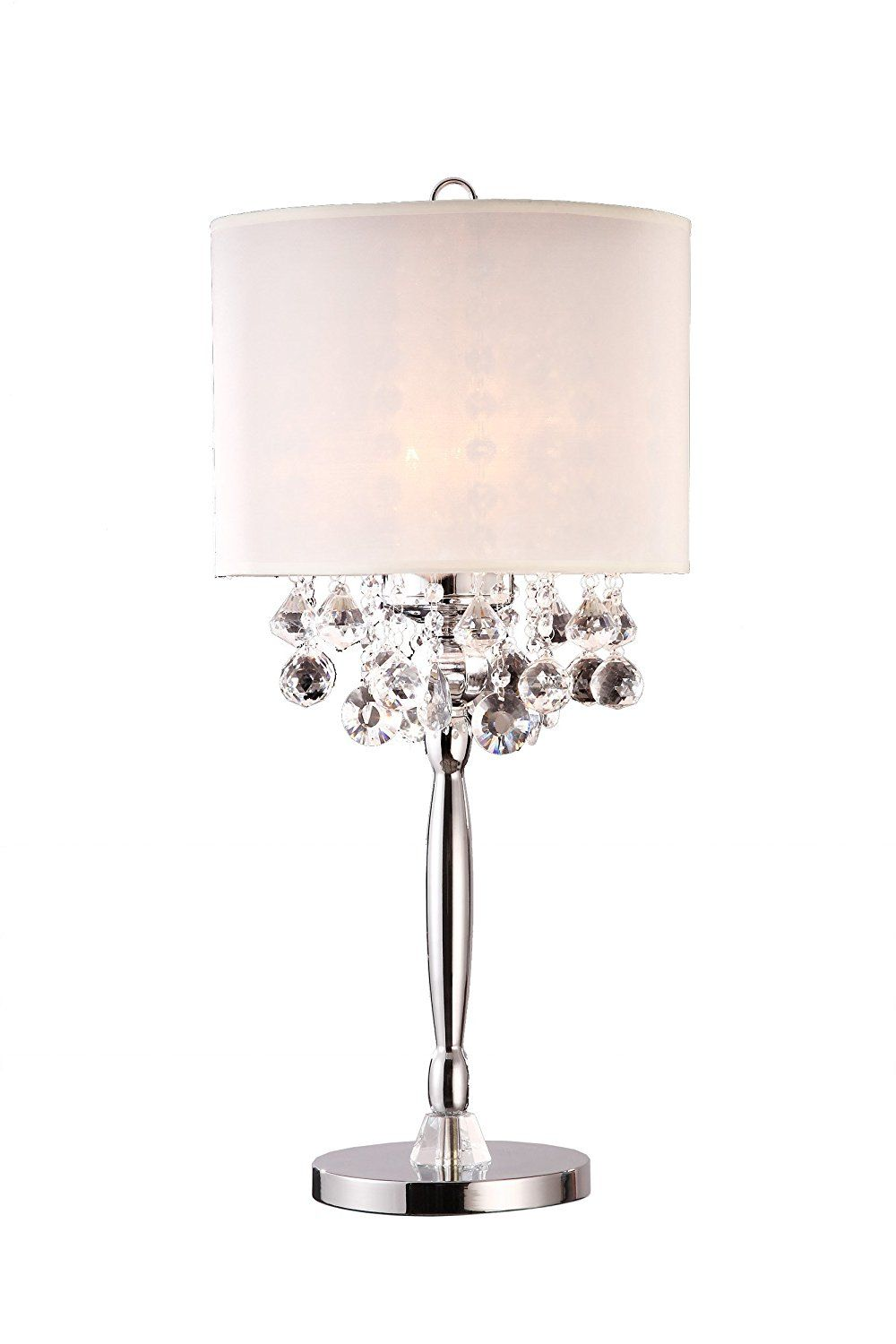 30 H Modern Crystal Chandelier With White Shade Table Lamp Silver Table Lamps Table Lamp Modern Crystal Chandelier