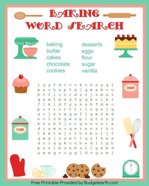 Baking Is Fun Free Printable Games With Images Word Games For