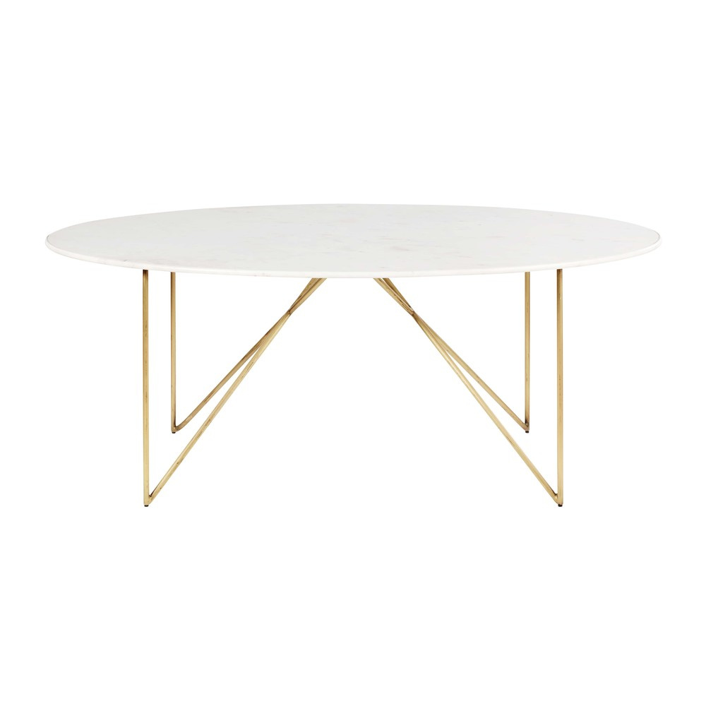Table L200 À Personnes Marbre En Doré Fer 46 Manger Et Blanc xdorBWQCe