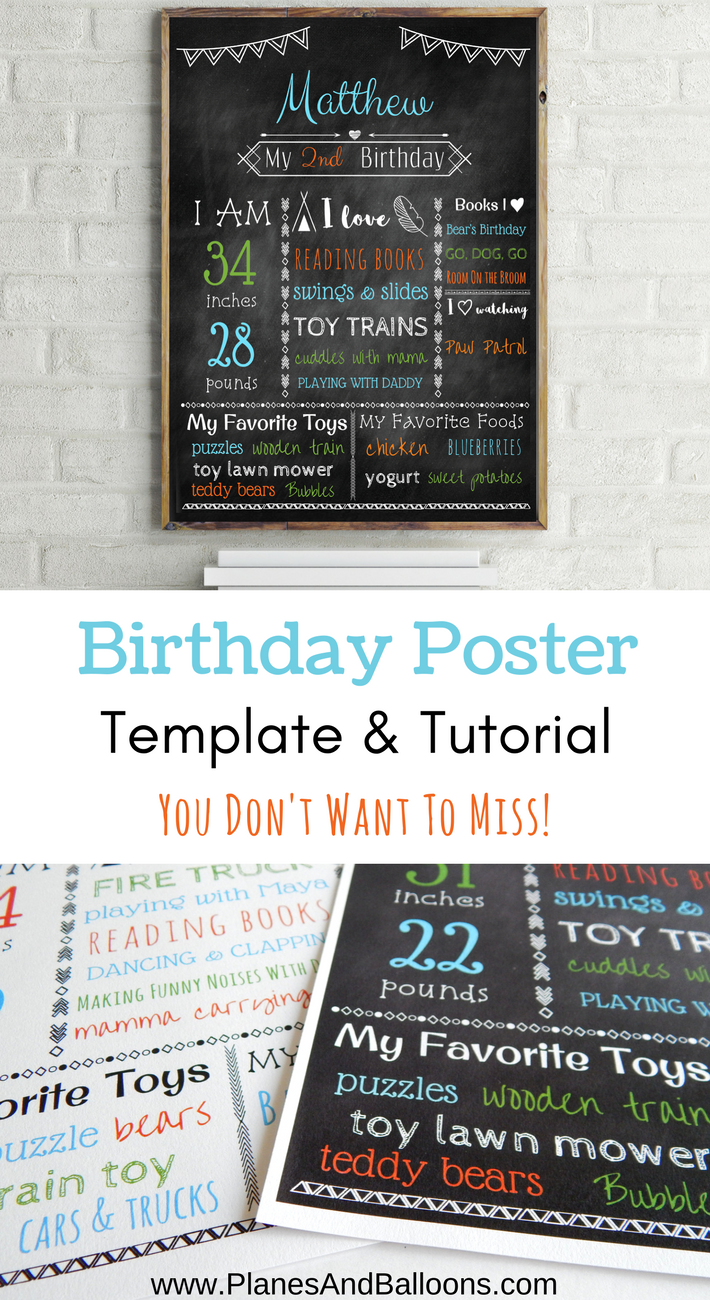 birthday poster template free with step by step tutorial pinterest