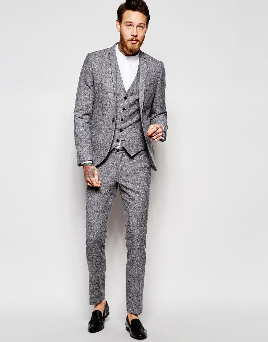 Noose & Monkey Grey Check Suit In Skinny Fit Contrast blue ...