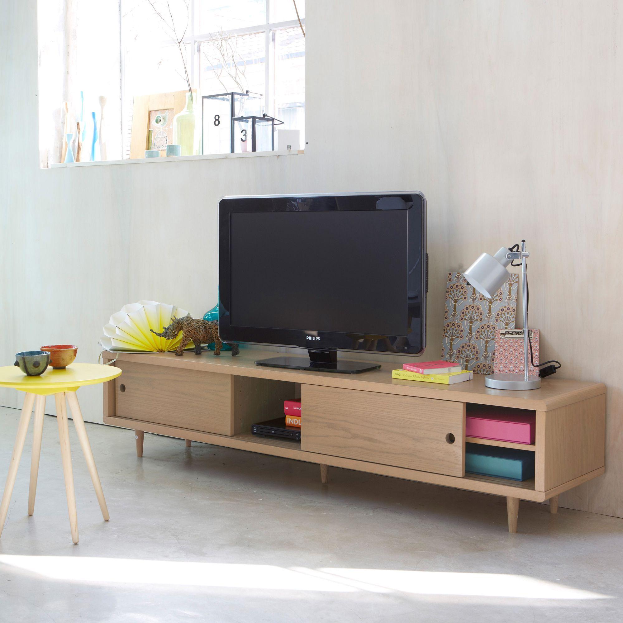 Banc TV plaqué chêne NEW RETRO - 3 Suisses | Mobilier & déco rétro ...