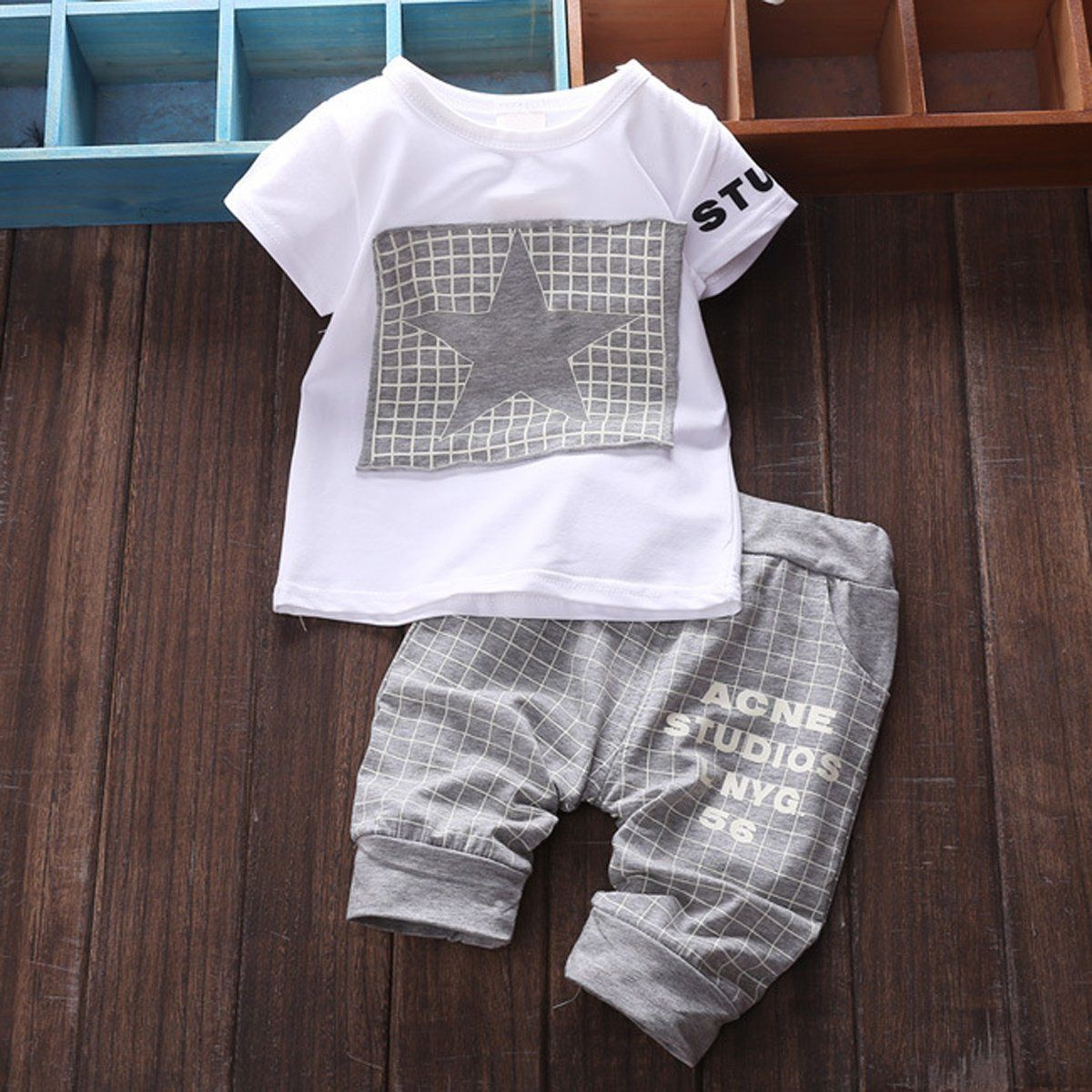 5a631cc0f  9.39 - 2Pcs Cottonborn Baby Infant Boy Clothes Sets T-Shirt Top+ ...