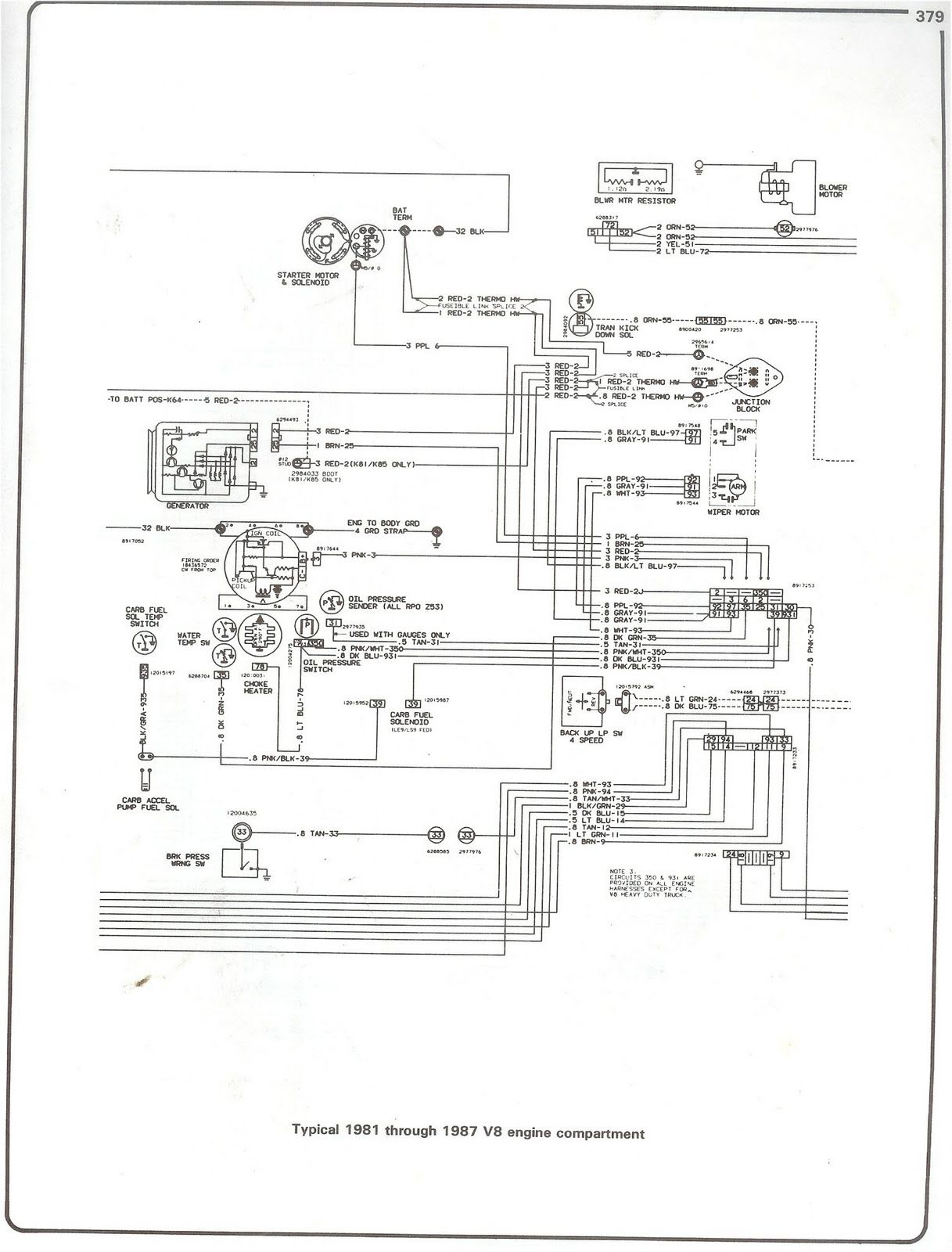This is engine compartment wiring diagram for 1981 trough