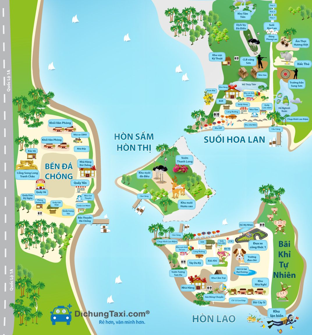 Bản đồ du lịch đầm Nha Phu Nha Trang