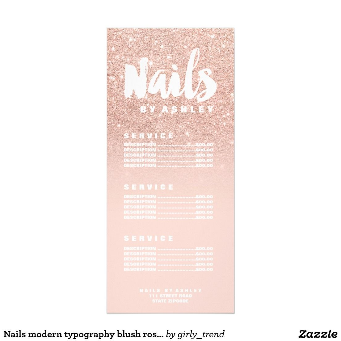 Nails modern typography blush rose gold price list rack card ...