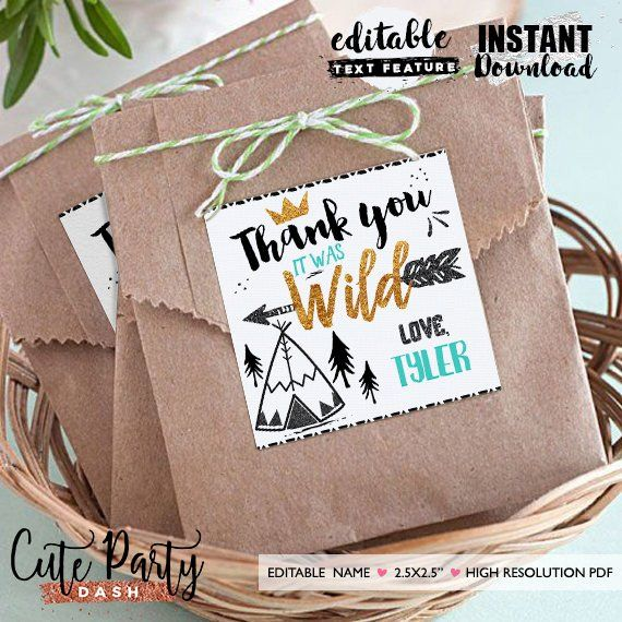 INSTANT DOWNLOAD - EDITABLE Wild one Favor Tag Teal Black and Gold Wild one Birthday Favor tags - Party decorations King of all wild things images