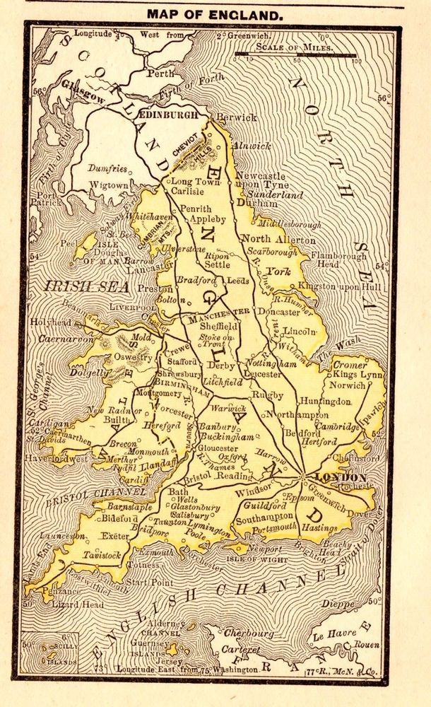 Rare antique england map 1886 rare miniature vintage map of england rare antique england map 1886 rare miniature vintage map of england 2963 gumiabroncs Gallery