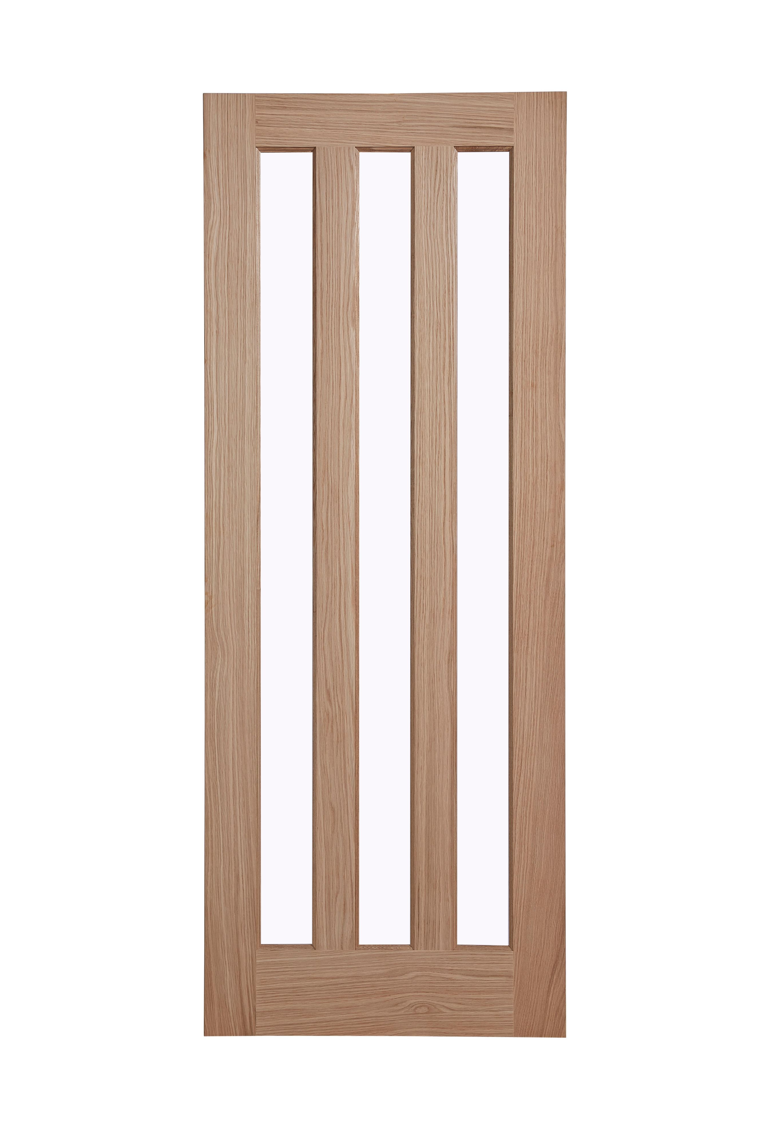 Vertical 3 Panel Oak Veneer Glazed Internal Standard Door (H)1981mm (W)762mm