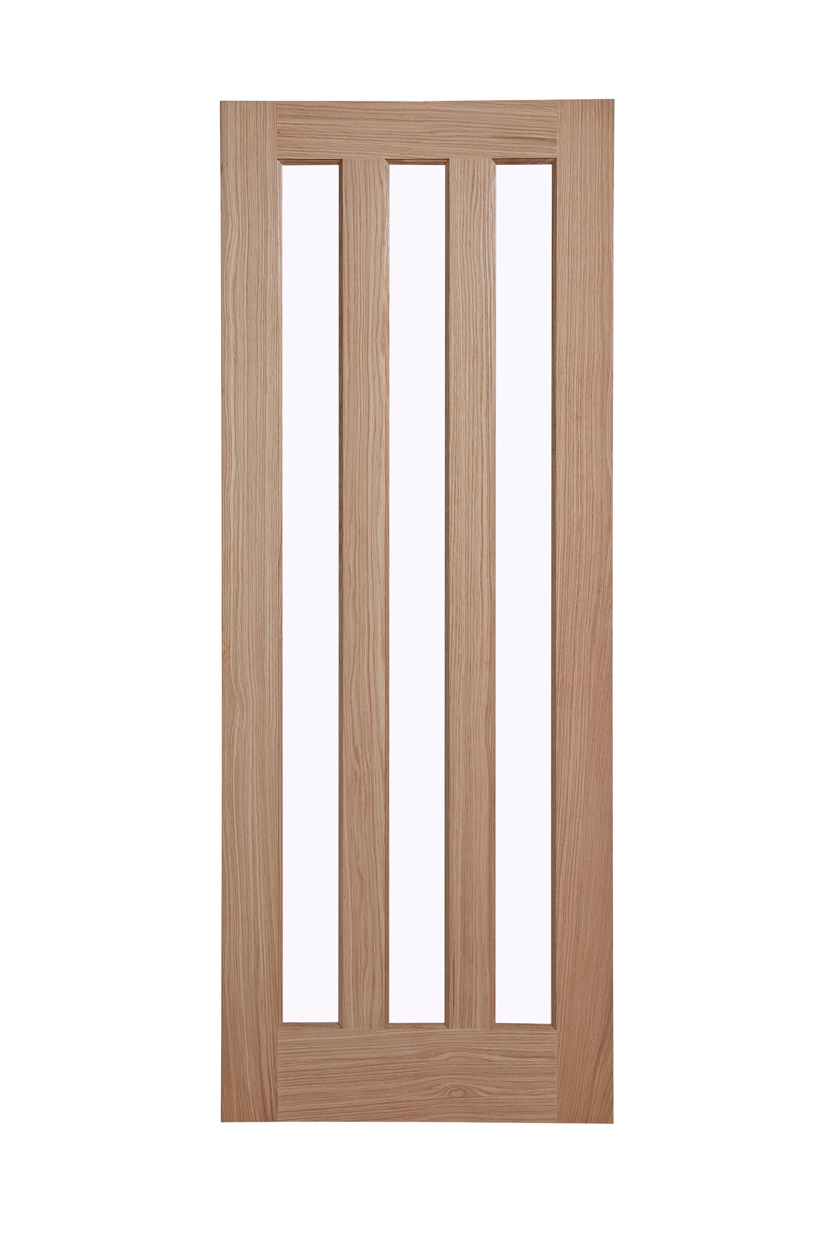 Vertical panel oak veneer glazed internal standard door hmm