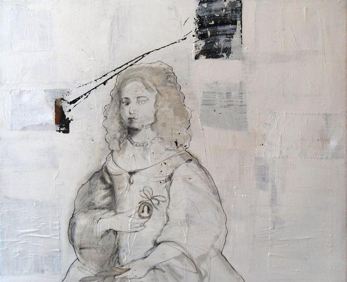 Irene van den Bos - THE INFANT 120x100 mixed media