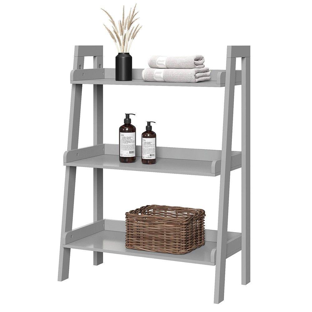 3 Tier Ladder Bathroom Shelf Gray Riverridge Bathroom Shelves
