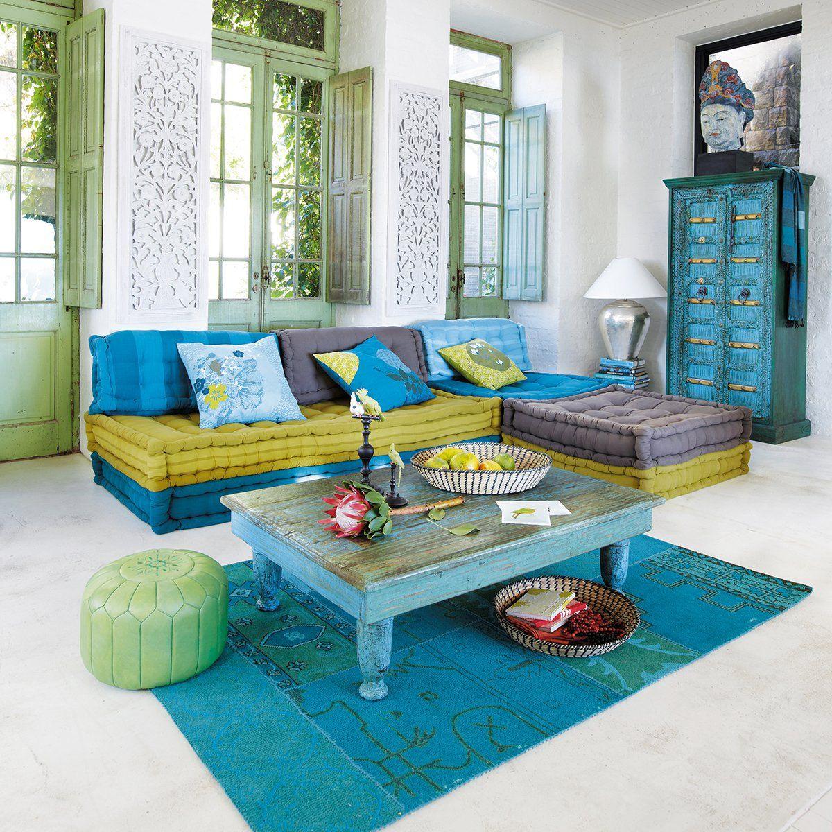banquette d'angle modulable 6 places en coton bleue et verte | wohnen
