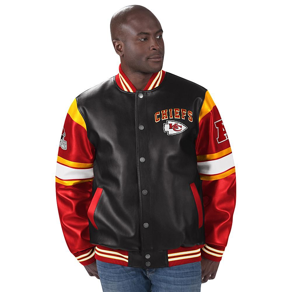 Officially Licensed Nfl Faux Leather Varsity Jacket By Glll Chiefs 9628250 Hsn Leather Varsity Jackets Varsity Jacket Jackets [ 1001 x 1001 Pixel ]