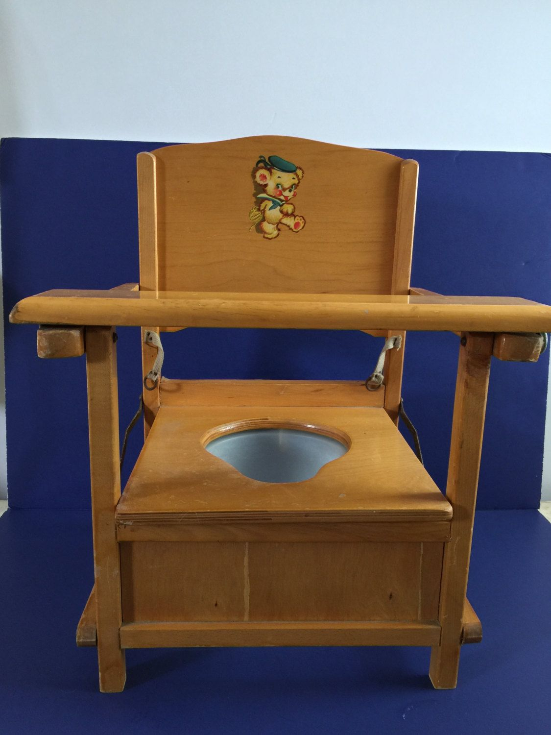 1950's Thayer Tops for Tots Vintage Retro Wooden Potty
