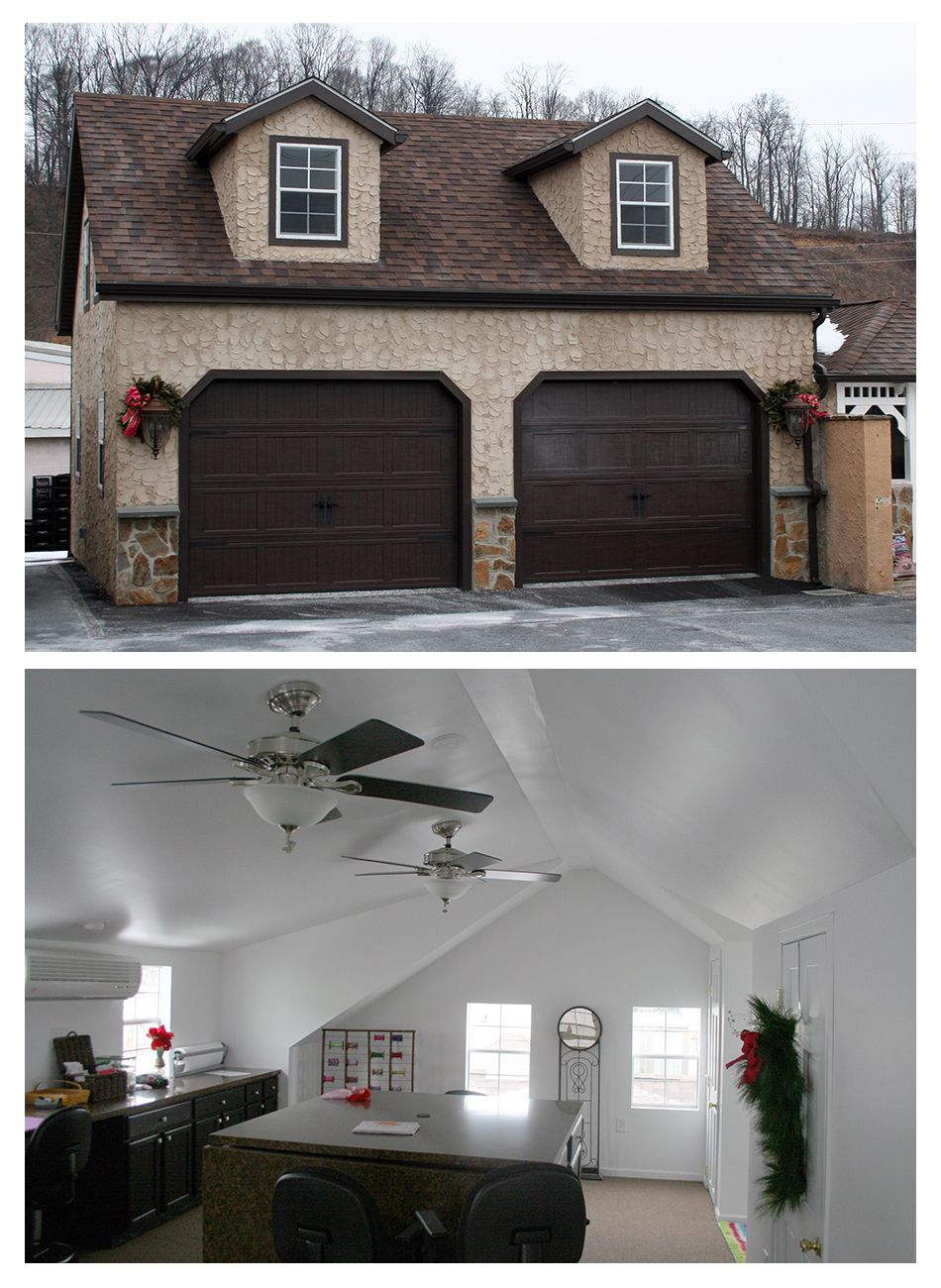 Horizon structures built this 24x24 2 story dormer garage for Stucco garage