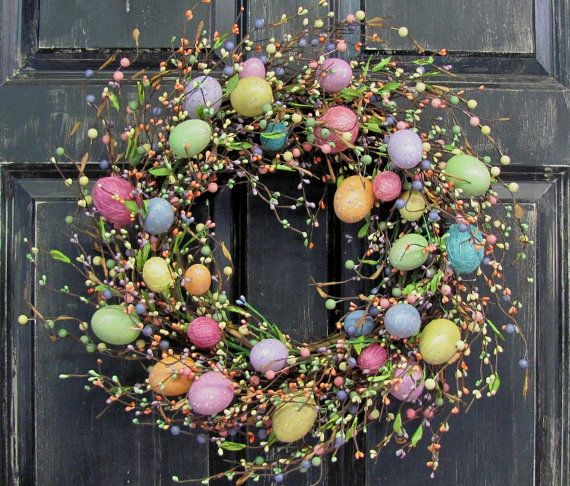 Photo of Items similar to LAST ONE! Easter Wreaths – Spring Front Door Wreath – Easter Egg Wreath – Easter Decor – Primitive Pastel Egg Wreaths – Primitive Decor on Etsy