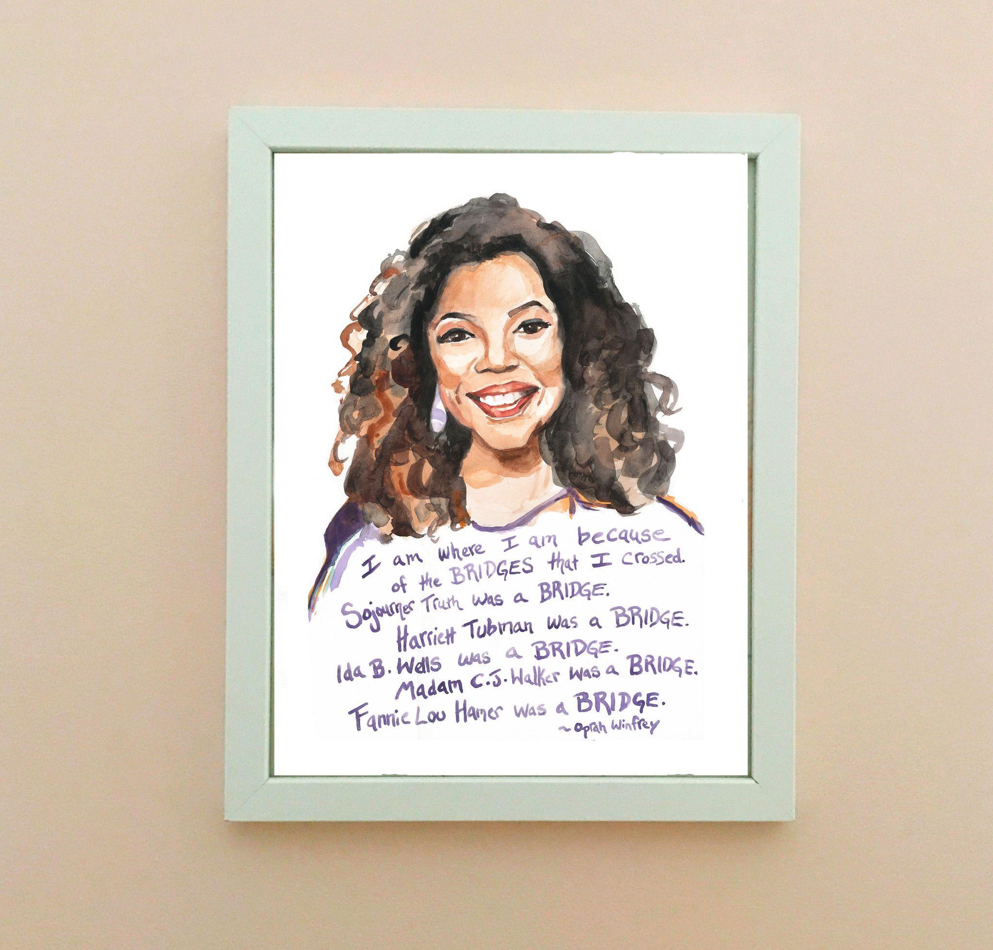 Oprah Winfrey, Portrait And Inspiring Quote
