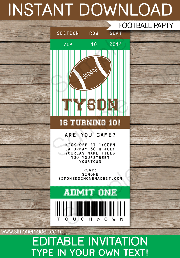 Football Ticket Invitation Template  Football Ticket Ticket