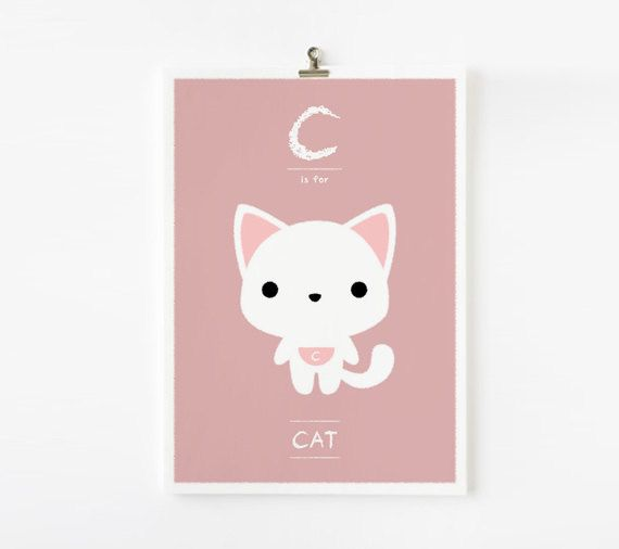 Alphabet poster C is for Cat 8x10 art print  Animal by loopzart, $15.00