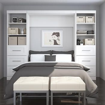 Boutique Full Wall Bed With Two Storage Units And Drawers In White