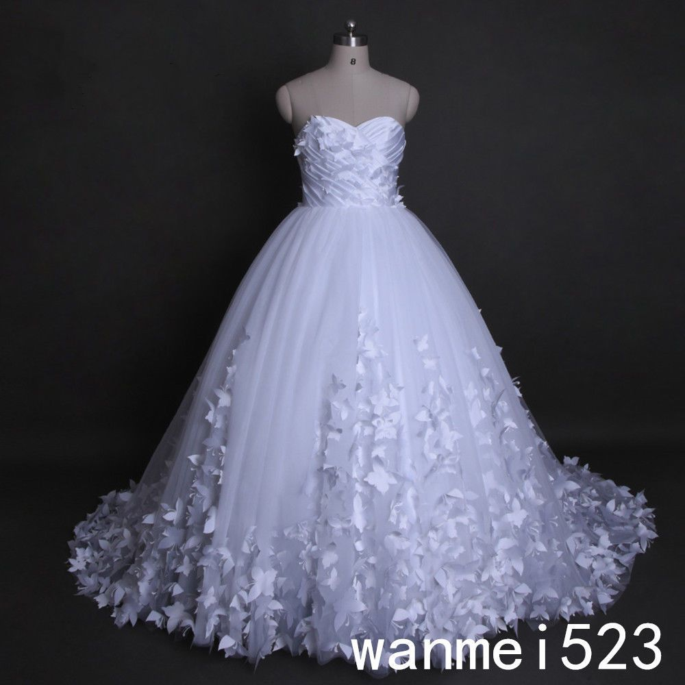 Butterfly wedding dress princess puffy bridal ball gown plus size