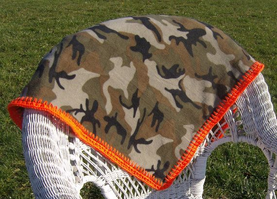 Camouflage Fleece Blanket For Men With Neon Hunter Orange