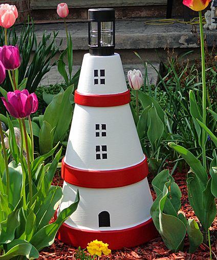 Terra Cotta Lighthouse. Homemade Terra Cotta Lighthouse