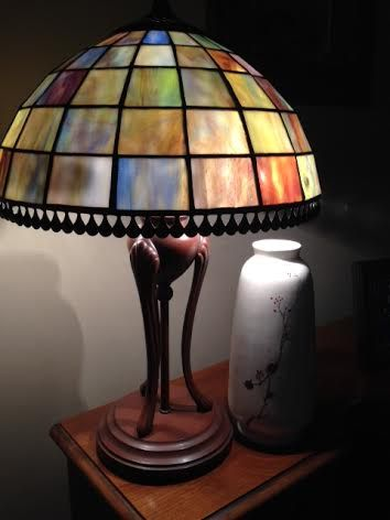This is a picture of my Grandmother's Victorian lamp next to