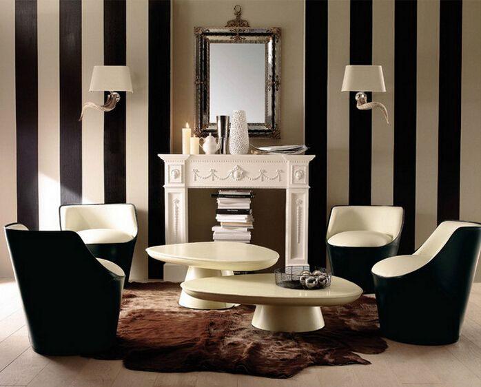 Günstige Pvc 10m Rollen Wasserdicht Wallpaper Modernen Schwarz/weiß Braun/ Weiß Streifen Tapete Gestreift