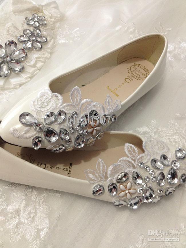 Cheap 2014 New Arrival Rhinestone Lace Shoes Flats Ivory Flat Wedding Bridal Womens Sandals Orthopedic From Dropshipper Lilya0507