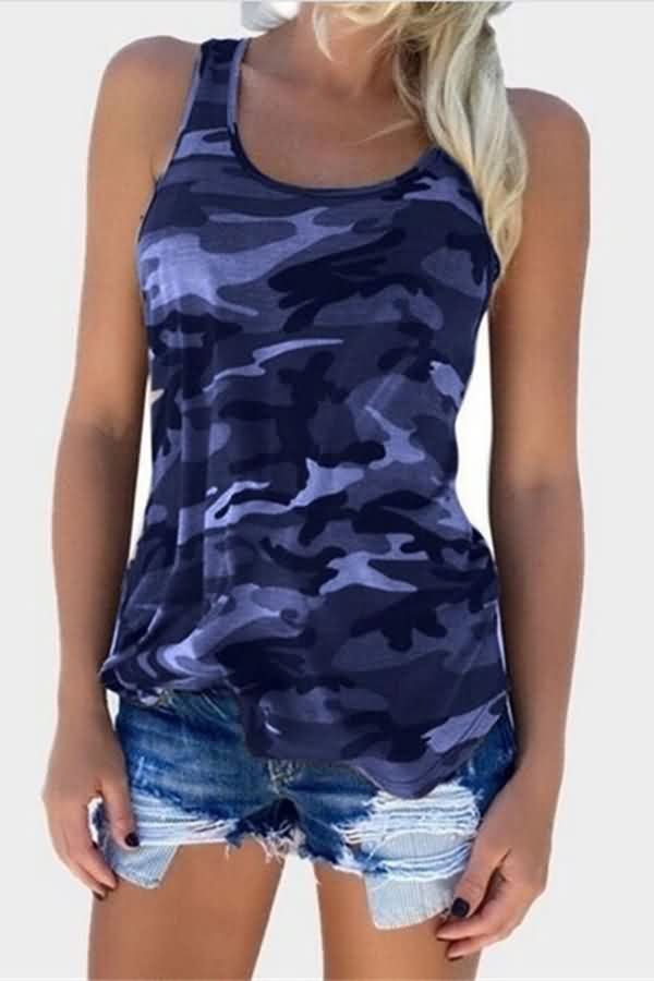 35dfcb6cecd Women Camouflage Print Scoop Neck Racer Back Casual Plus Size Tank Top -  Dark Blue