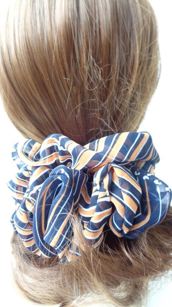 scrunchies scrunchie scrunchy orange and black hair Scrunchie, Chiffon hair scrunchie ,Chouchou, hai #hairscrunchie