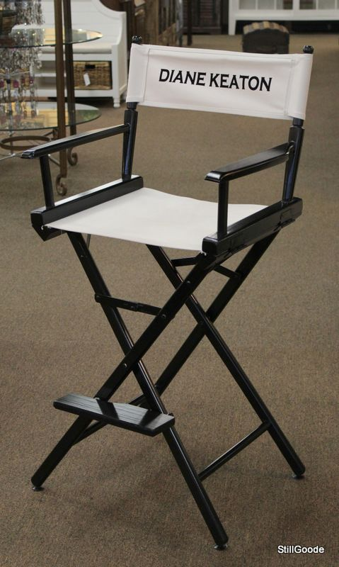 Unique black folding bar high director chair by Telescope with canvas back and seat imprinted with Diane Keaton on back. Retail price $300. #OnTheShowroomFloor #Unique #Black #Folding #Director #Telescope #Canvas #StillGoode