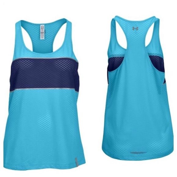Under Armour Running Tank UA Running Tank Top. Heatgear. Mesh wicks away sweat to keep you cool & dry. Teal & Blue. NWT. Size Large. Retail: $35 Under Armour Tops Tank Tops