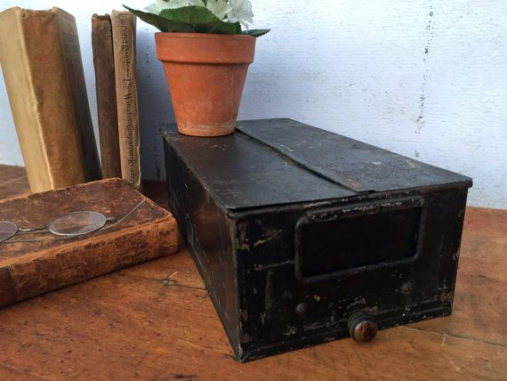 Antique Metal Library Index Card Box  File by greatoldcountryfinds