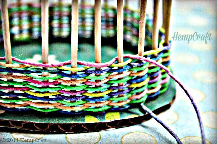 How To Make A Woven Basket Using Hemp Cord Hemp Yarn Basket Weaving Patterns Basket Weaving Diy
