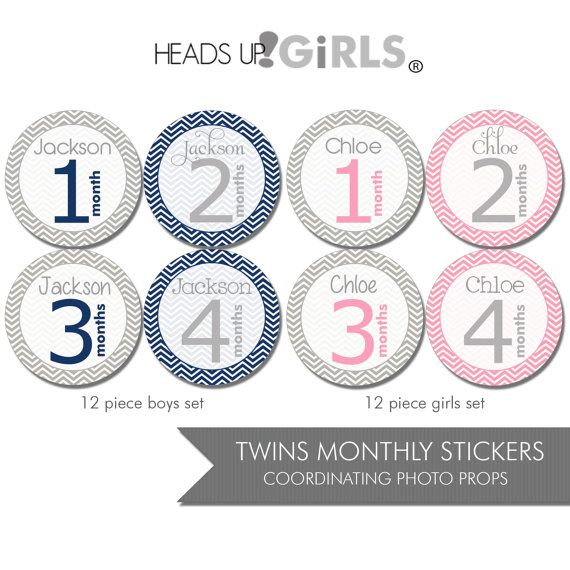 Personalized Twins Set of 24 Round Monthly by HeadsUpGirlsBaby, $35.00