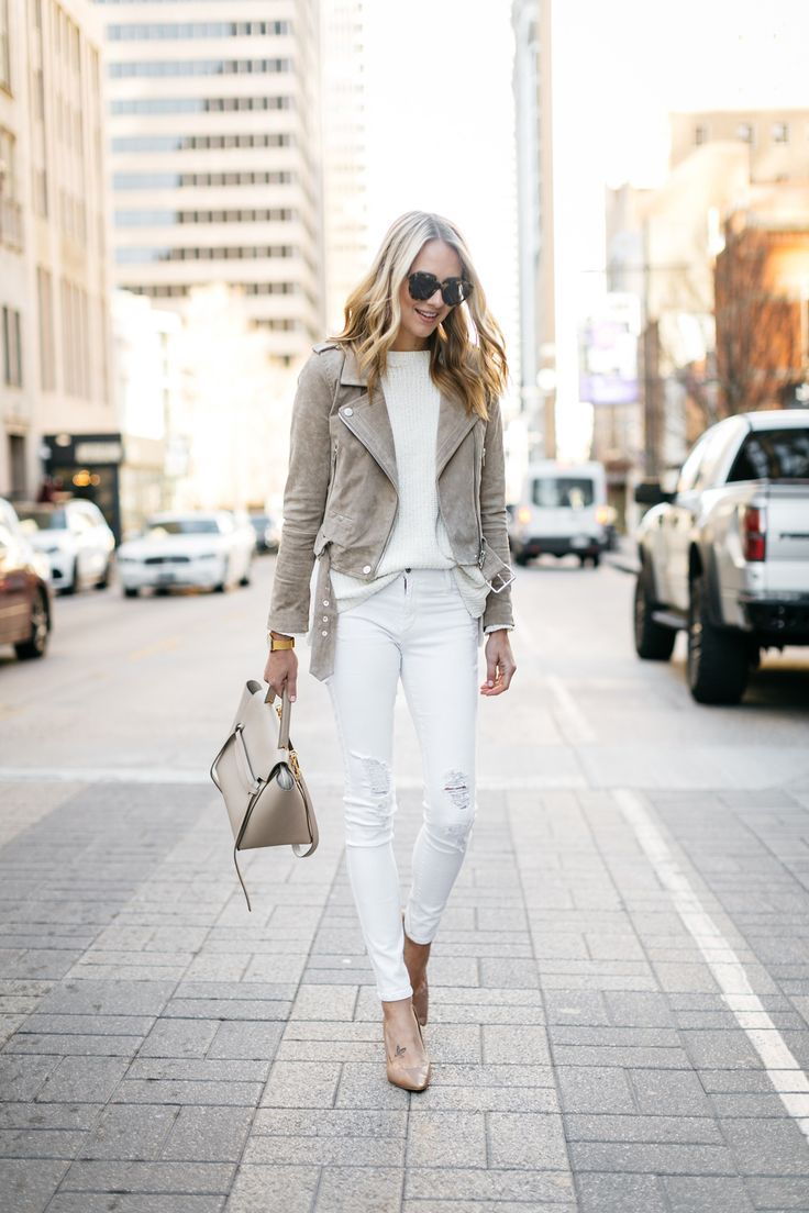 Street Style, Tan Suede Moto Jacket, James Jeans White Skinny ...