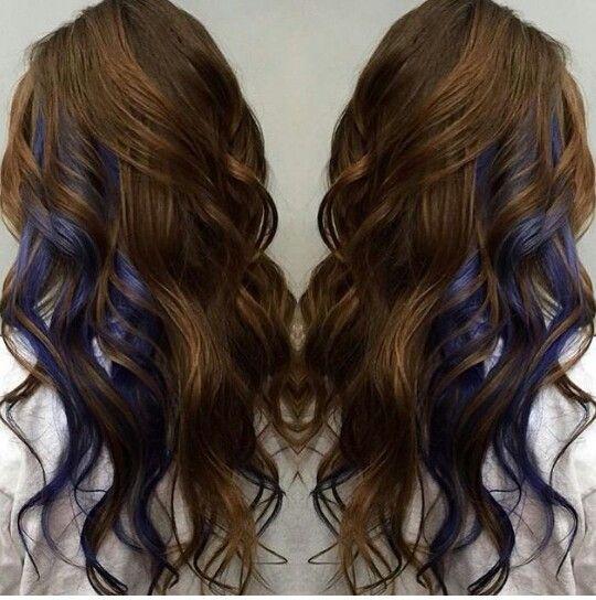 Copper brown hair with dark blue peek-a-boos