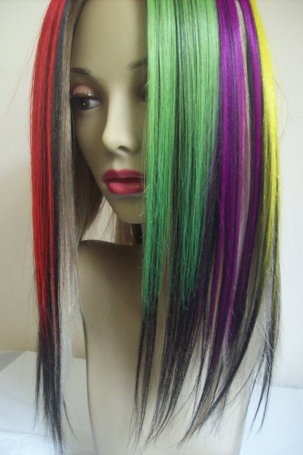 Set Of 7 Mixed Color Orange Lilac Purple Red White Lime Green Plum Violet Yellow And Black Fade Yaki Clip In Ha Red Hair Extensions Cool Hairstyles Dyed Hair