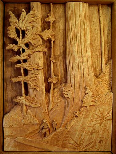 Redwood scene wood carving pinterest