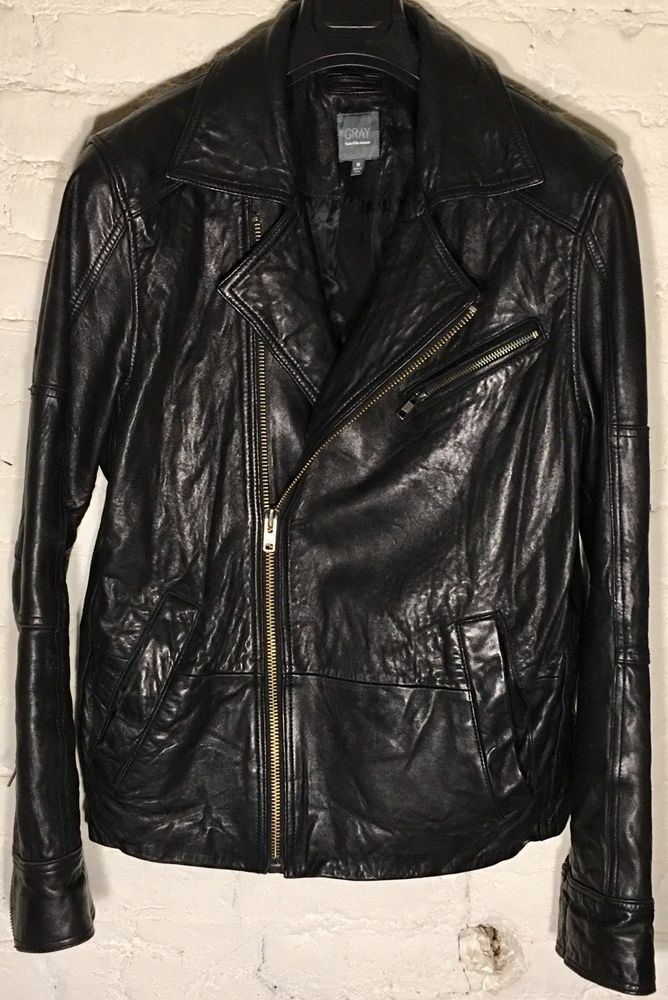 Gray By Saks Fifth Ave Asymmetric Zip Leather Jacket Size