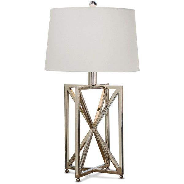 Leonardo Modern Silver Metal Geometric Table Lamp 448 Liked On Polyvore Featuring Home Lighting Lamps Light