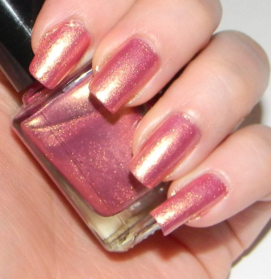 pink nail polish with golden shimmer divine | pink nails, gorgeous