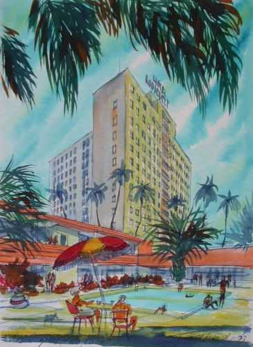 Igor Ziembrowski '73 signed watercolor Los Angeles Hotel Roosevelt 16x21 signed in Art, Art from Dealers & Resellers, Paintings | eBay