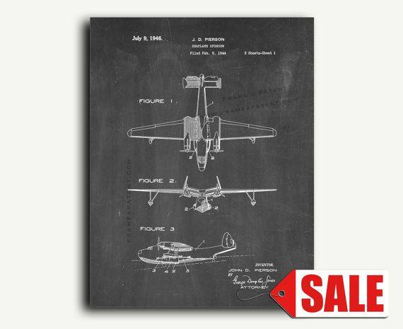 Art Print POSTER Seaplane in Stained Glass